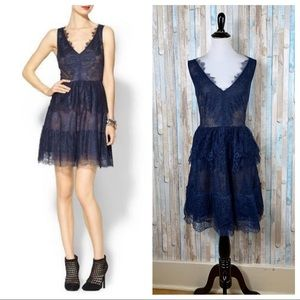 BCBG L Navy Blue Lace Willa Fit Flare Party Dress